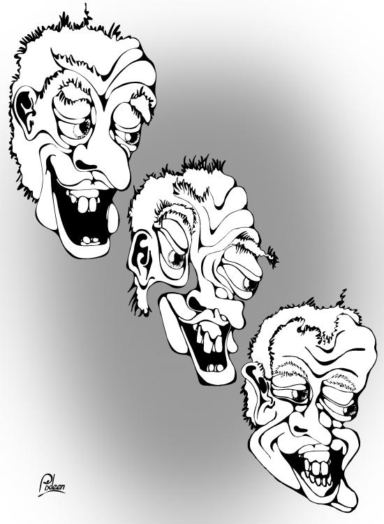 Portraits des 3 aieux de Meauterfeuil : dessin au trait noir sur fond gris