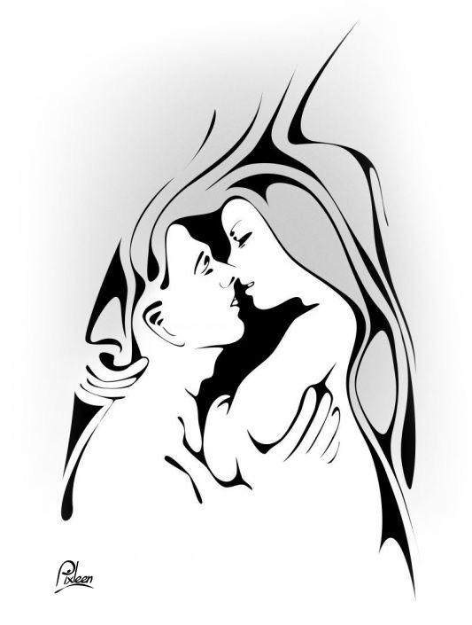 Dessin d'un couple amoureux qui se regarde : trait noir et nuances de gris