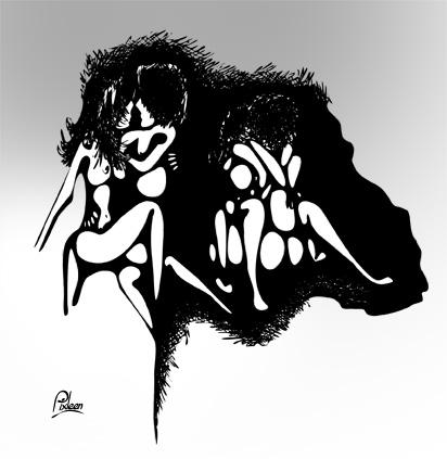 Dessin au trait noir avec nuances de gris de couples en amour sur fond d'une tête de singe
