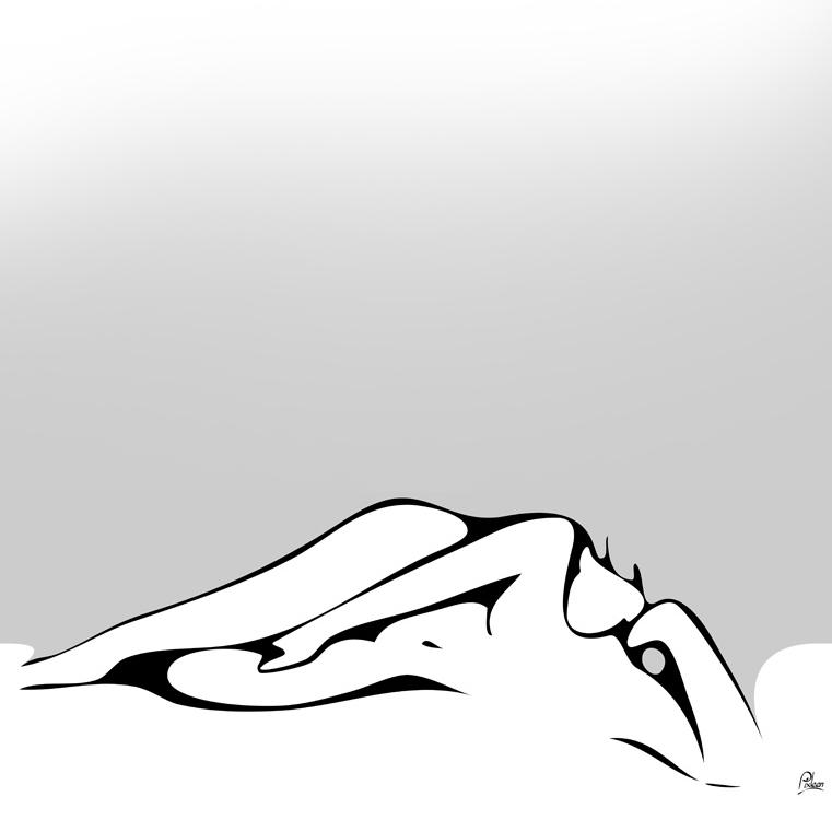 femme nue allongée sur le côté