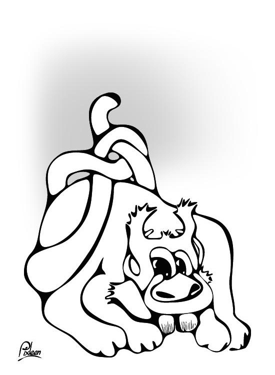 Dessin d'un Gloutard ébouriffé, animal étrange mais sympathique