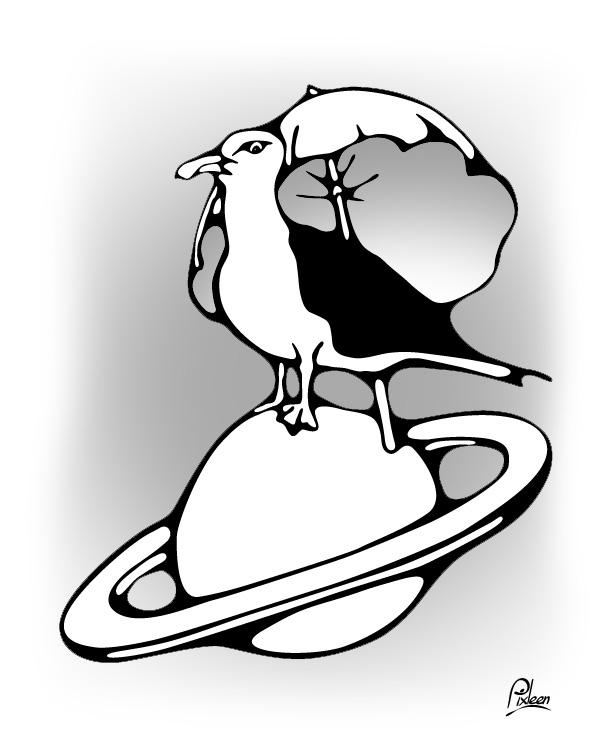 Dessin d'un goéland sur Saturne tel le Petit Prince à l'ombre de sa rose : illustration au trait noir avec nuances de gris