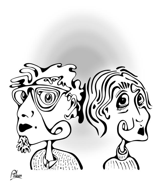 Couple en dessin au trait noir sur fond blanc