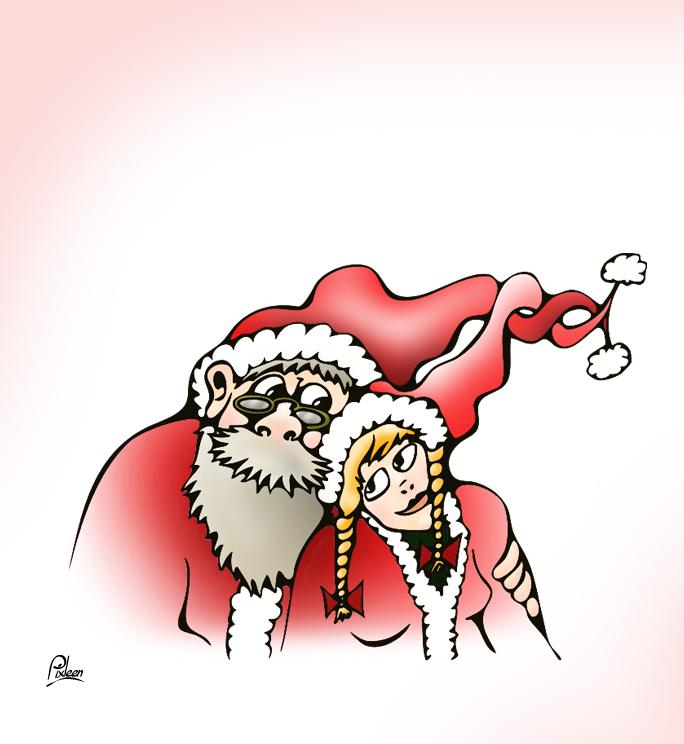 Dessin du Père-Noël et de sa Miss-Noël