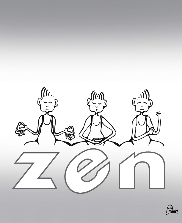 Dessin de zenitude : exercie de relaxation en trois étapes : inspiration, concentration et rien à foutre